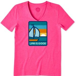 LIFE IS GOOD Fiesta Pink Sol Seeker V-Neck Tee